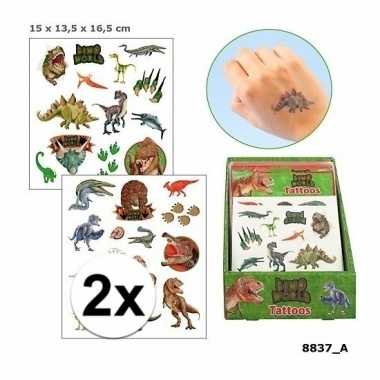 Afgeprijsde 2x plak tatoeages dinosaurus 4 vellen