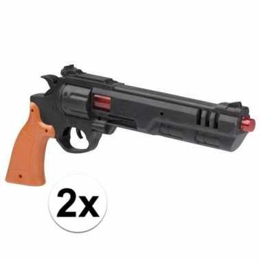 Afgeprijsde 2x plastic kinder pistool/pistolen 36 cm