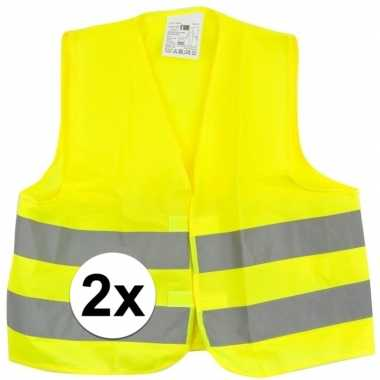 Afgeprijsde 2x reflecterende veiligheids vestjes geel voor jongens en