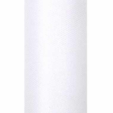 Afgeprijsde 2x rollen tule stof wit met glitters 15 cm