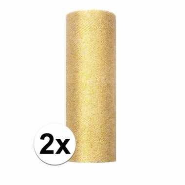 Afgeprijsde 2x rolletjes tule stof goud met glitters 15 cm