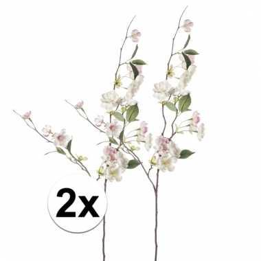 Afgeprijsde 2x roze perzikbloesem 80 cm kunstplant takken