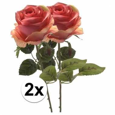 Afgeprijsde 2x roze roos 45 cm kunstplant steelbloem