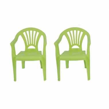 Afgeprijsde 2x tuinstoeltje groen plastic 37 x 31 x 51 cm voor kinder
