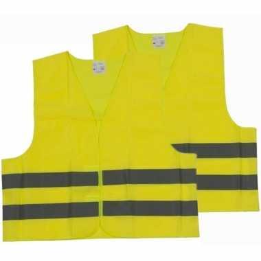 Afgeprijsde 2x veiligheidsvesten/hesjes geel voor volwassenen