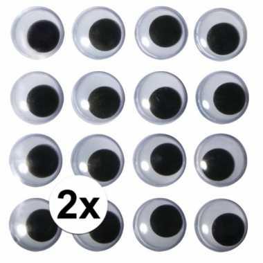 Afgeprijsde 2x zakjes hobby artikelen oogjes 15 mm