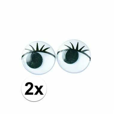 Afgeprijsde 2x zakjes hobby artikelen oogjes met wimpers 15 mm