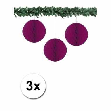 Afgeprijsde 3 aubergine paarse decoratie bollen van papier 10 cm