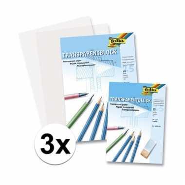 Afgeprijsde 3 blokken transparant overschrijf papier a4
