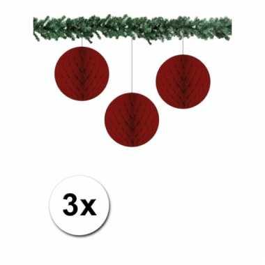 Afgeprijsde 3 bordeaux rode decoratie bollen van papier 10 cm