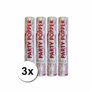 Afgeprijsde 3 confetti poppers zilver 28 cm