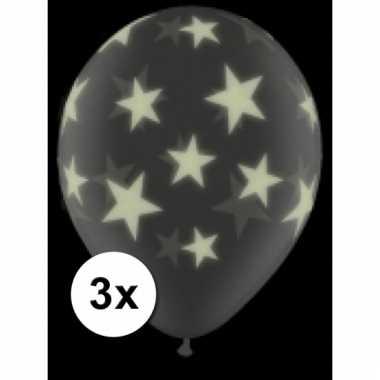 Afgeprijsde 3 glow in het donker ballonnen met sterren 28 cm