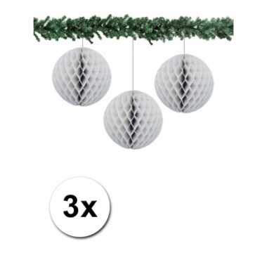 Afgeprijsde 3 grijze decoratie bollen van papier 10 cm
