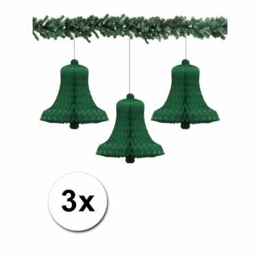 Afgeprijsde 3 groene kerstversiering klokken van papier 36 cm
