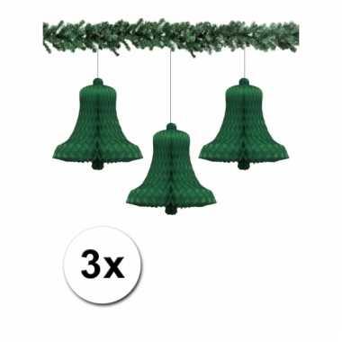 Afgeprijsde 3 groene kerstversiering klokken van papier 50 cm