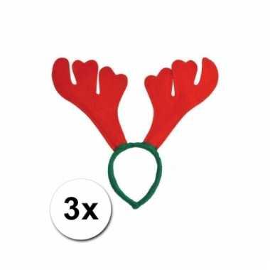 Afgeprijsde 3 kerst haarbanden met rood gewei