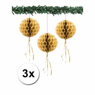 Afgeprijsde 3 kerstversiering gouden decoratie bollen 30 cm