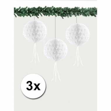 Afgeprijsde 3 kerstversiering witte decoratie bollen 30 cm