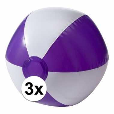 Afgeprijsde 3 opblaas strandballen paars met wit