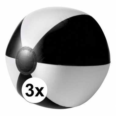 Afgeprijsde 3 opblaas strandballen zwart met wit