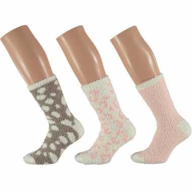 Afgeprijsde 3-pack warme bedsokken panter roze/wit voor dames