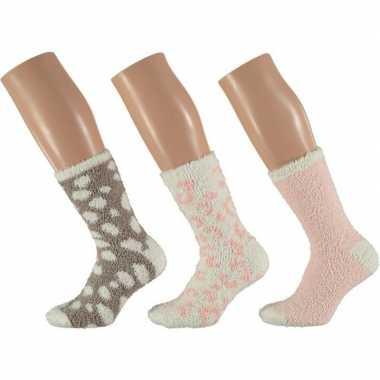 Afgeprijsde 3-pack warme huissokken panter roze/wit voor dames