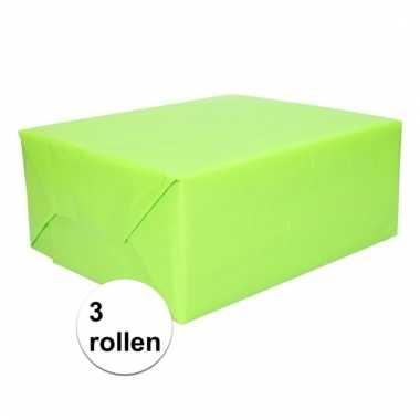 Afgeprijsde 3 rollen inpakpapier lime groen 200 cm