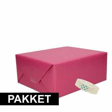 Afgeprijsde 3 stuks kraft inpakpapier met rolletje plakband
