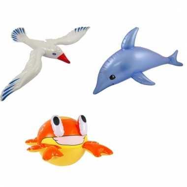 Afgeprijsde 3 stuks opblaasbare zeedieren type 1
