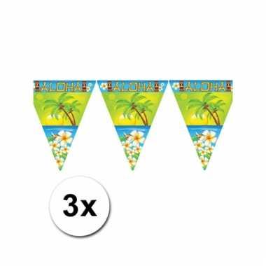 Afgeprijsde 3 tropical vlaggenlijnen aloha 5 meter