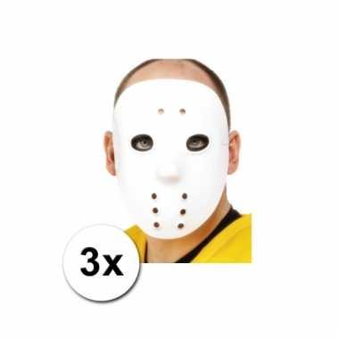 Afgeprijsde 3 witte hockey maskers
