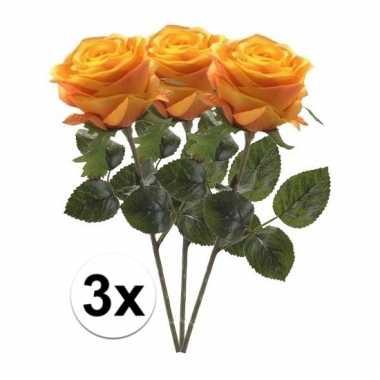 Afgeprijsde 3 x geel/oranje roos simone 45 cm kunstplant steelbloem