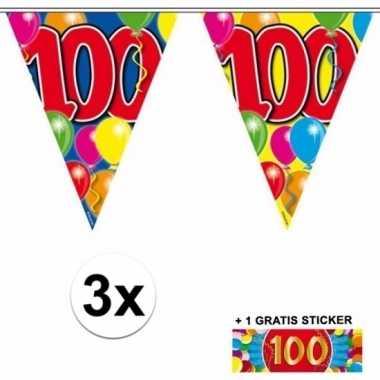 Afgeprijsde 3 x leeftijd vlaggenlijnen 100 jaar met sticker