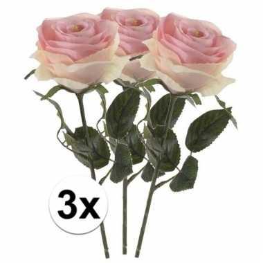 Afgeprijsde 3 x licht roze roos simone 45 cm kunstplant steelbloem
