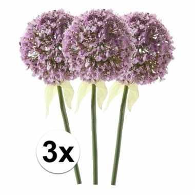 Afgeprijsde 3 x lila sierui 70 cm kunstplant steelbloem