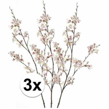 Afgeprijsde 3 x roze japanse kersenbloesem 105 cm kunstplant takken