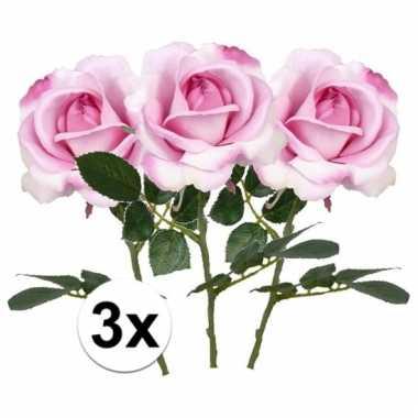 Afgeprijsde 3 x roze roos carol 37 cm kunstplant steelbloem