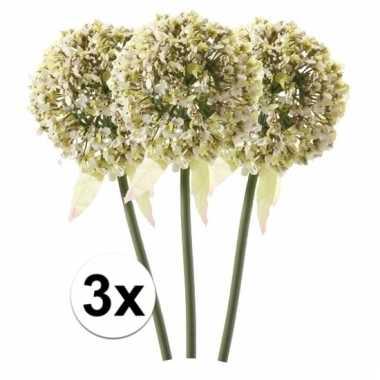 Afgeprijsde 3 x witte sierui 70 cm kunstplant steelbloem