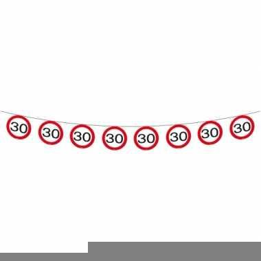 Afgeprijsde 30 jaar thema slinger met verkeersborden 12 meter