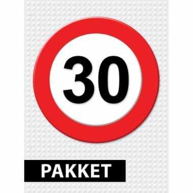 Afgeprijsde 30 jaar verkeersbord versiering pakket