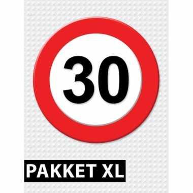 Afgeprijsde 30 jaar verkeersbord versiering xl pakket