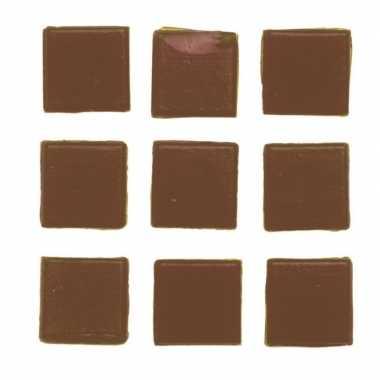 Afgeprijsde 30 stuks vierkante mozaieksteentjes bruin 2 cm