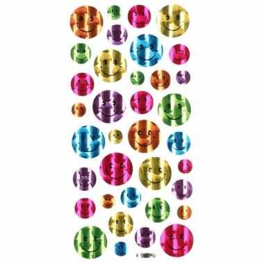 Afgeprijsde 36x gekleurde glimmende smiley stickers