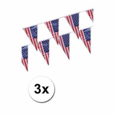 Afgeprijsde 3x amerikaanse vlaggenlijn 4 meter