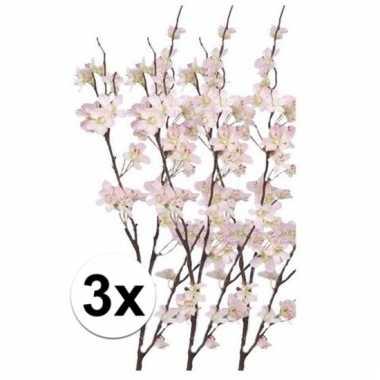 Afgeprijsde 3x appelbloesem kunst tak roze84 cm