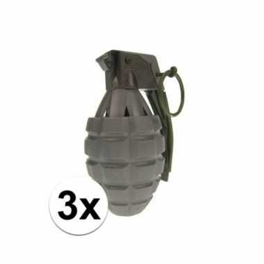 Afgeprijsde 3x army speelgoed handgranaten
