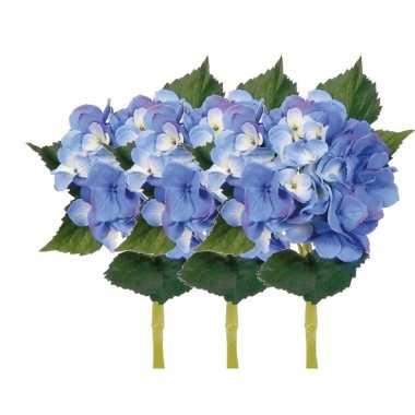 Afgeprijsde 3x blauwe kunst hortensia kunstbloemen 48 cm