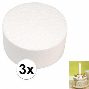 Afgeprijsde 3x bruidstaart maken piepschuim schijf 10 cm