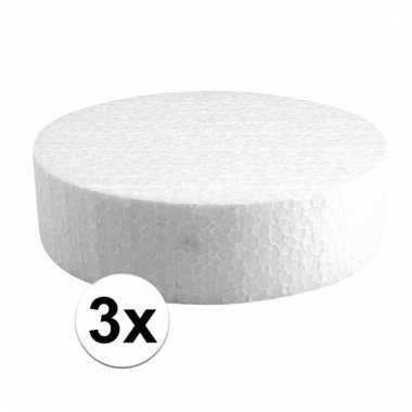 Afgeprijsde 3x bruidstaart maken piepschuim schijf 15 cm