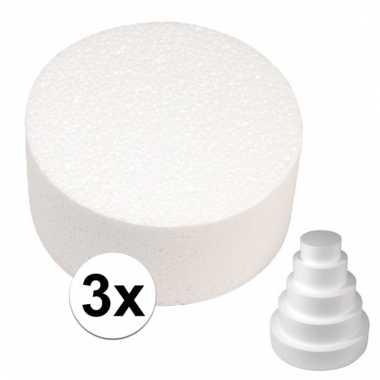 Afgeprijsde 3x bruidstaart maken piepschuim schijf 25 cm